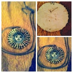 Vintage Signed Mexico Ceramic Sun Necklace